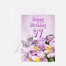 97th Birthday card with alstromeria lily flowers G
