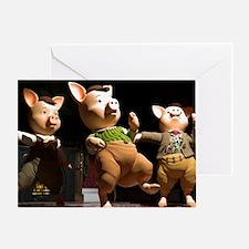 3 Air Guitar Pigs Greeting Card