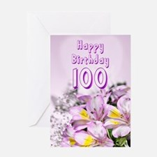 100th Birthday card with alstromeria lily flowers