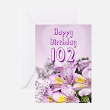 102nd Birthday card with alstromeria lily flowers