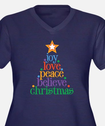 Joy Love Christmas Women's Plus Size V-Neck Dark T