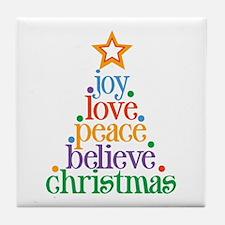 Joy Love Christmas Tile Coaster