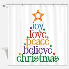 Joy Love Christmas Shower Curtain