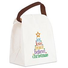 Joy Love Christmas Canvas Lunch Bag