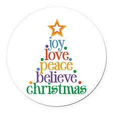 Joy Love Christmas Round Car Magnet