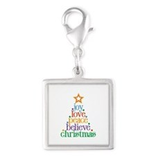 Joy Love Christmas Silver Square Charm