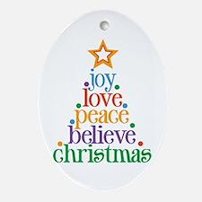 Joy Love Christmas Ornament (Oval)
