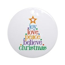 Joy Love Christmas Ornament (Round)