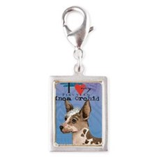 orchid-oval key Silver Portrait Charm