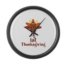 First Thanksgiving Turkey Large Wall Clock