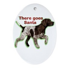 Pointer dog holiday Ornament (Oval)