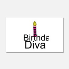 Pink and Black Birthday Diva Car Magnet 20 x 12