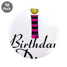 """Pink and Black Birthday Diva 3.5"""" Button (10 pack)"""