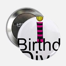 """Pink and Black Birthday Diva 2.25"""" Button"""