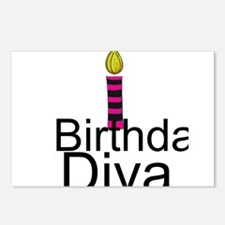Pink and Black Birthday Diva Postcards (Package of