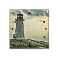 "lighthouse_close_clock Square Sticker 3"" x 3"""