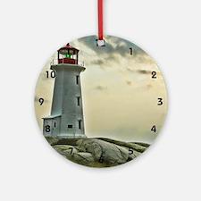 lighthouse_close_clock Round Ornament