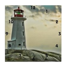 lighthouse_close_clock Tile Coaster