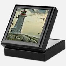 lighthouse_close_clock Keepsake Box