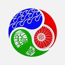 "Triathlon TRI Swim Bike Run Yin Yang 3.5"" Button"