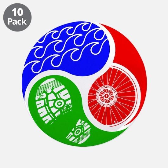 "Triathlon TRI Swim Bike Run Yin Yang 3.5"" Button ("