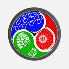 Triathlon TRI Swim Bike Run Yin Yang Wall Clock
