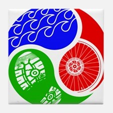 Triathlon TRI Swim Bike Run Yin Yang Tile Coaster