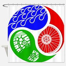Triathlon TRI Swim Bike Run Yin Yang Shower Curtai