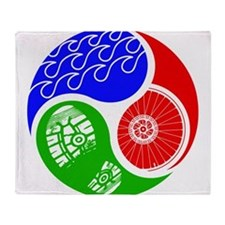 Triathlon TRI Swim Bike Run Yin Yang Throw Blanket