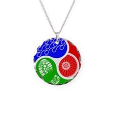 Triathlon TRI Swim Bike Run Yin Yang Necklace