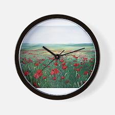 poppy poppies art Wall Clock