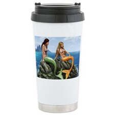 pensive mermaids on rocks cover Travel Mug
