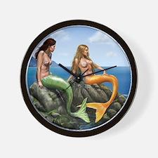 pensive mermaids on rocks covered Wall Clock