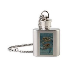 mild nudity siren sisters covered c Flask Necklace