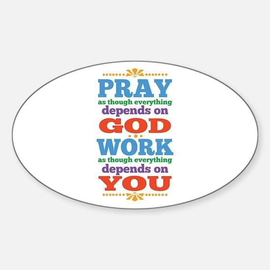 God Pray and Depend Sticker (Oval)