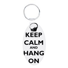 keep-calm-and-hang-on-black Keychains