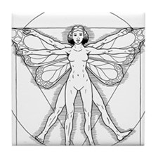 Vitruvian Fairy black Tile Coaster