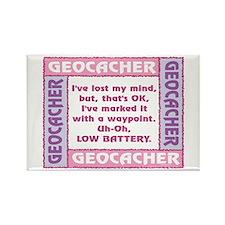 Pink Geocacher Lost Mind Rectangle Magnet