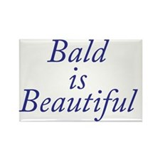 Bald is Beautiful Blue Rectangle Magnet