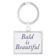 Bald is Beautiful Blue Landscape Keychain