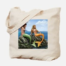 pensive mermaids on rocks covered for mou Tote Bag