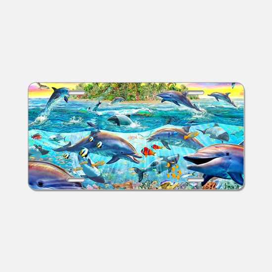 Dolphin Reef Aluminum License Plate