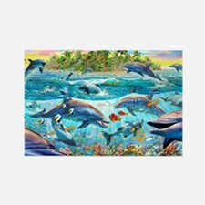Dolphin Reef Rectangle Magnet