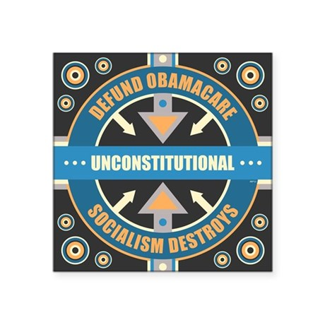 "sept_defund_obamacare Square Sticker 3"" x 3"""