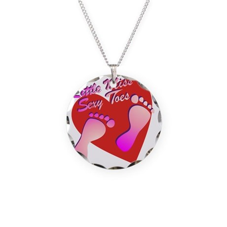 Little Miss Sexy Toes Necklace Circle Charm