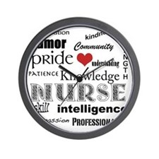 Nurse Pride black with red heart_edited Wall Clock