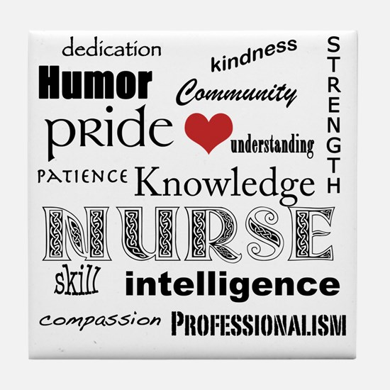 Nurse Pride black with red heart_edit Tile Coaster