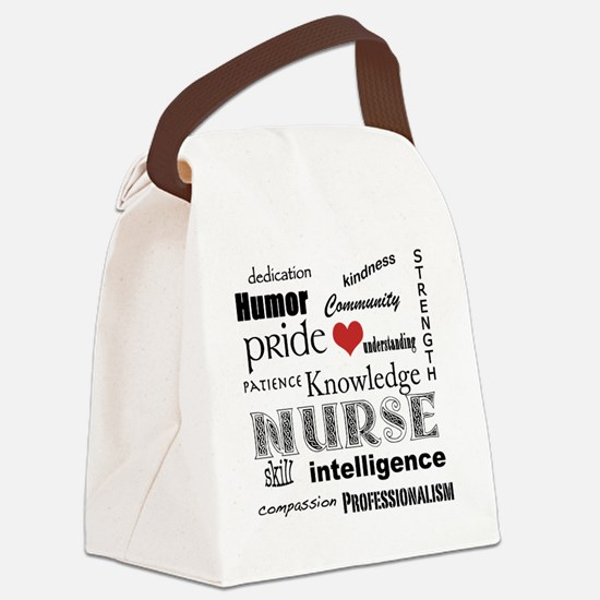 Nurse Pride black with red heart_ Canvas Lunch Bag