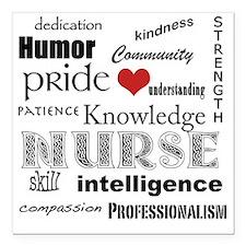 "Nurse Pride black with r Square Car Magnet 3"" x 3"""