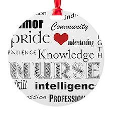 Nurse Pride black with red heart_ed Ornament
